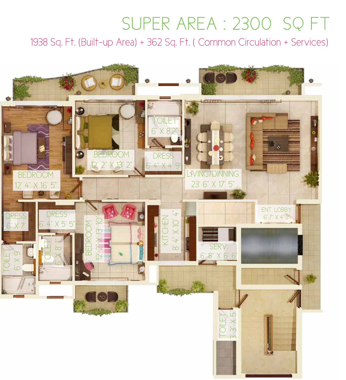 3BHK Floor Plan(2300sq ft)