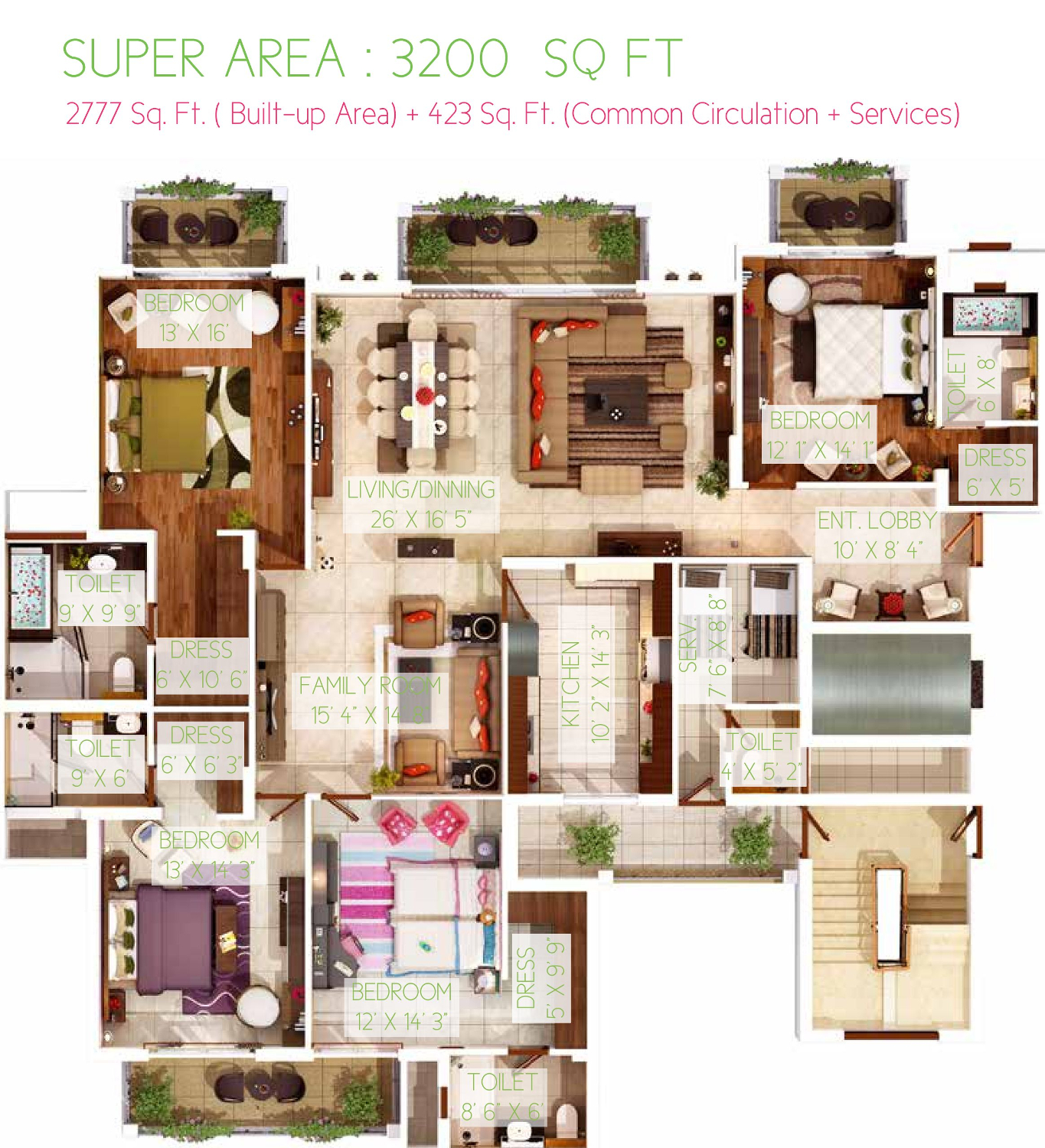 4BHK Floor Plan(3200sq ft)