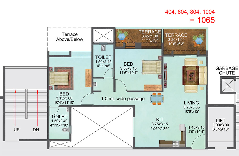 2BHK (1065sq ft)