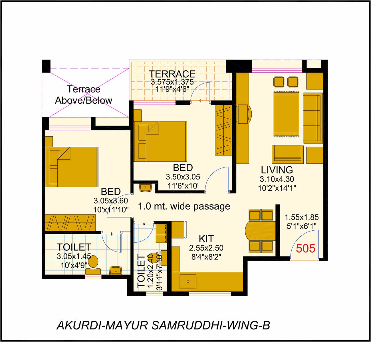 2BHK (933sq ft)