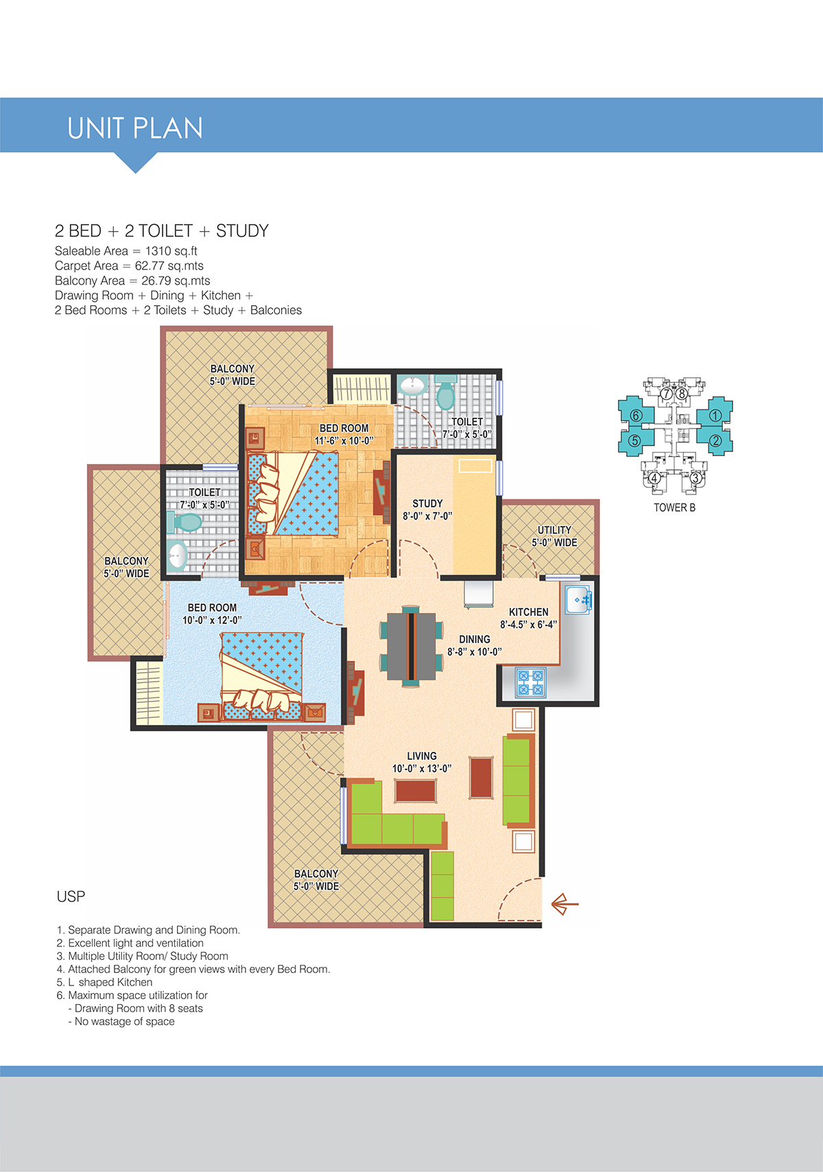 2BHK Floor Plan(1310sq ft)