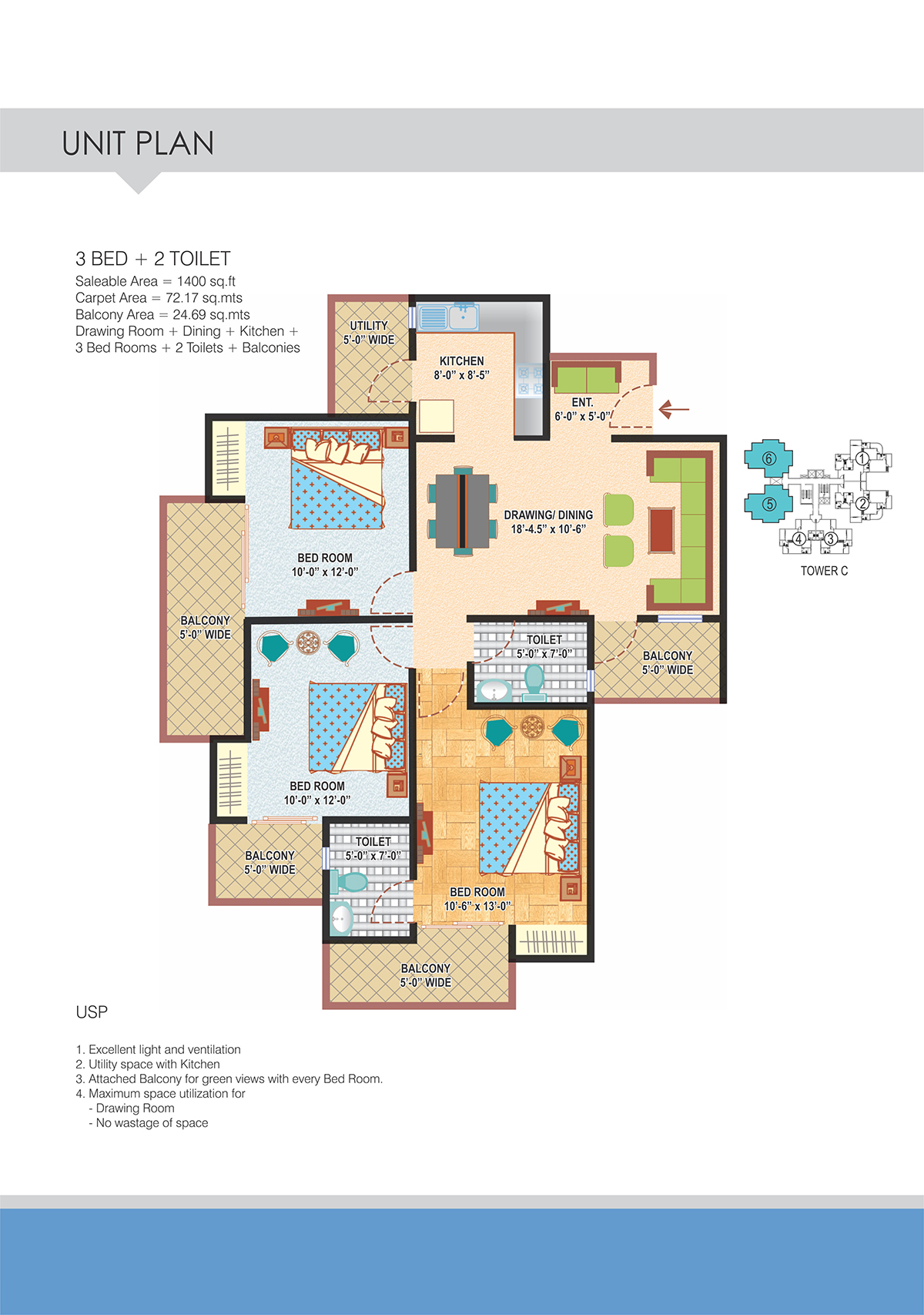 3BHK Floor Plan(1400sq ft)