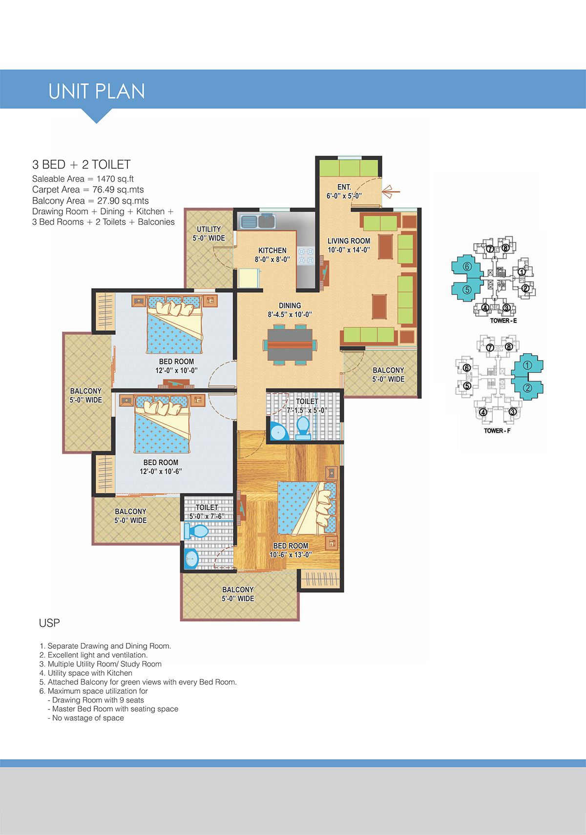 3BHK Floor Plan(1470sq ft)