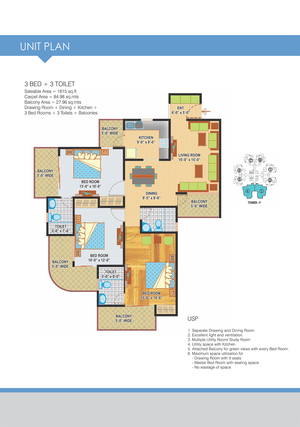 3BHK Floor Plan(1615sq ft)