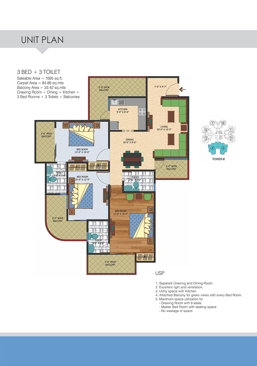 3BHK Floor Plan(1695sq ft)