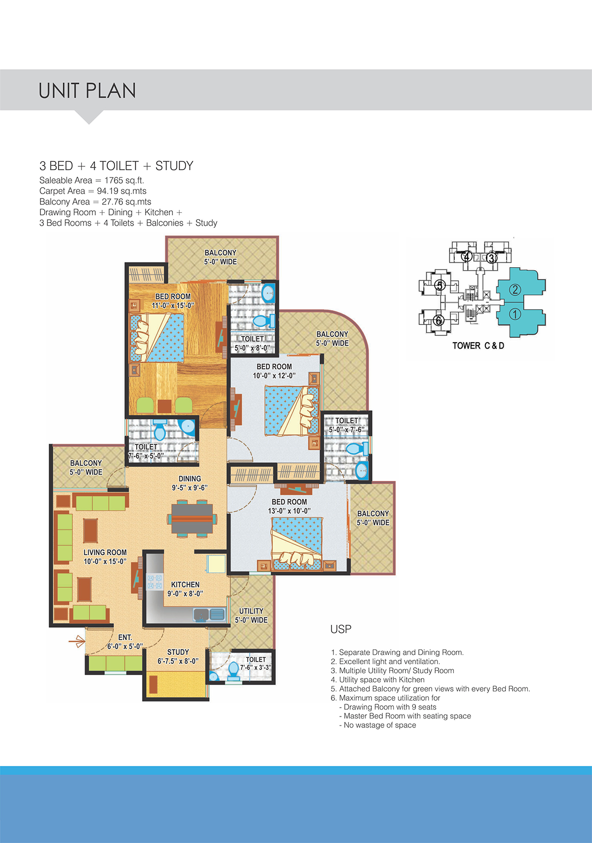 3BHK Floor Plan(1765sq ft)