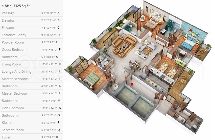 4BHK Floor Plan(3325sq ft)