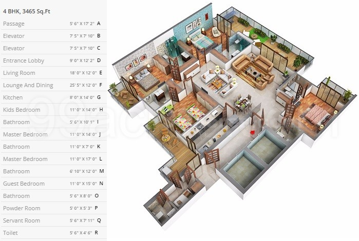 4BHK Floor Plan(3465sq ft)