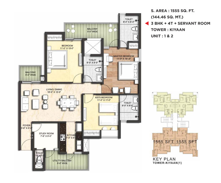 3BHK Floor Plan(1555sq ft)